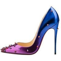 CL Christian Louboutin Women Rivet Gradient Color Heels Shoes-1