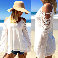 New 2016 Spring Summer Euroupean Women Blouses Off Shoulder Loose Sexy Lace Blouse Long Sleeve Beachwear Blusas Plus Size XS-6XL
