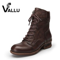 VALLU 2017 Autumn Shoes Women Ankle Boots Genuine Leather Low Heel Lace Up Cowhide Woman Boots
