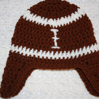 FootBall Hat with Earflaps NB, 0-3 mo or 3-6 mo  Baby Shower Gift, Infant, Perfect Photo Prop