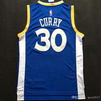 #30 Stephen Curry Basketball Jerseys Blue Throwback Sports Jersey Uniform Men Shirts Stitching with Player Name 30 Size S -XXL