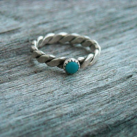 Vintage Retro 1980's Turquoise Blue Stone Ring by InkandRoses13