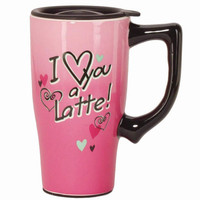 I Love You a Latte 16oz Pink Ceramic Travel Mug with Lid