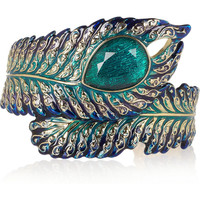 Isharya 18-karat gold crystal-embellished feather cuff – 55% at THE OUTNET.COM