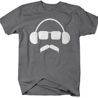 Men's Funny Music Headphones Hipster T-Shirt Hilarious Shirts Comedy Tees For HIpsters Mustache