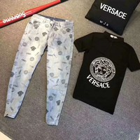 VERSACE Newest Fashion Men Casual Print Short Sleeve Top Pants Two-Piece Set