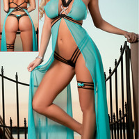 Strappy Mesh Flyaway Gown Set with Thong Garter Sleepwear Long night dress Valentine langerie Sexy lingerie hot for erotic women