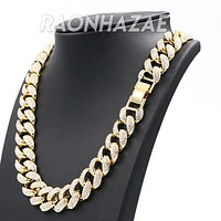 "Hip Hop Fully Iced Mens 18mm Heavy Miami Cuban Chain (Multiple Sizes 9"" - 36"")"