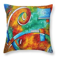 "Bold Colorful Abstract PoP Art Original Contemporary Painting by Megan Duncanson Fire and Ice Throw Pillow 14"" x 14"""