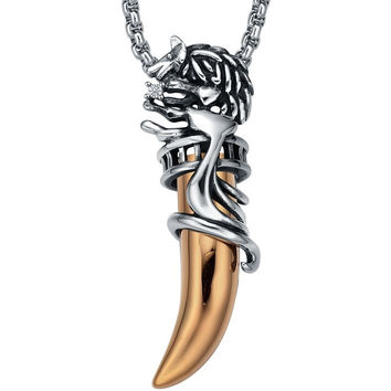 Stainless Steel Tribal Gold Color Wolf Tooth W. Crystal Pendant Necklace