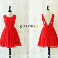 A Party V Shape Backless Party Dress Red Roses Lace Prom Dress Cocktail Dress Red Lace Backless Dress Wedding Bridesmaid Dresses XS-XL