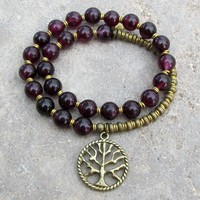 Love, Genuine Garnet Gemstone 27 Beads Mala Bracelet with Tree Of Life Charm