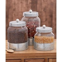 Kitchen Countertop Country Decorative Dry Food Storage Glass Airtight Canister Organizer Set