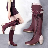 Violet Evergarden lolita boots shoes Cosplay Custom-made cosplay shoes  Ladies fashion leisure cartoon PU leather shoes
