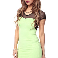 Lime Textured Body-con Dress