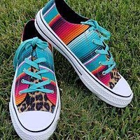 2020 New Products Women's Lightweight Canvas Shoes Casual Flat Lace-up Color Block Leopard Print Shoes