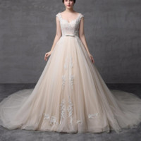 Champagne A line Wedding Dresses Illusion Lace Strap Crystal Beaded Tulle Layers Cap Sleeve