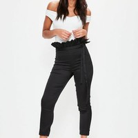 Missguided - Petite Black Satin Paperbag Waist Cigarette Trousers