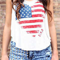 White Sleeveless American Flag Print Flounce Tank Top