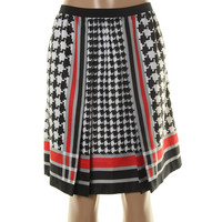 Anne Klein Womens Houndstooth Pleated A-Line Skirt