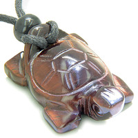 Amulet Lucky Charm Turtle Red Tiger Eye Gemstone Evil Eye Protection Pendant Necklace
