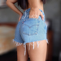 Levis Plain cutoff High waist shorts Button up Blue denim Light wash Hipster Indie clothing