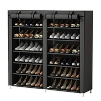 UDEAR Shoe Rack Portable Storage Free Standing Shoe Organizer with Non-Woven Fabric Cover Grey