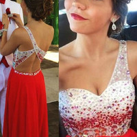 Elegant One Shoulder Red Backless Prom Dress with Beadings