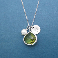 Personalized, Birthstone color & Initial disc, Silver, Necklace, Birthday, Wedding, Best friends, Sister, Gift, Jewelry