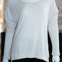 Long Sleeve, SILK Back Cut Out Top