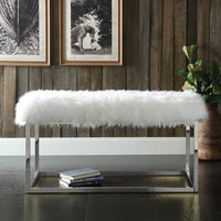 Marilyn Bench Ottoman Fur Modern Luxe Chrome Metal Frame Ottoman Bench, White