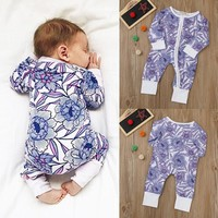 Floral Print Long Sleeve Onesuit