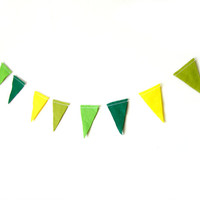 Green Triangle Garland - Felt Bunting, Felt Garland, bright home decor, pink, yellow, blue