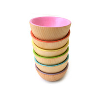 Wooden Stacking Bowls - Pastel Rainbow