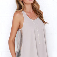 Gleam with it Light Grey Beaded Sleeveless Top