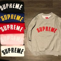 Supreme Embroidered hedging round neck sweater S-XXL