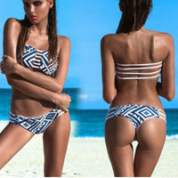 Women Floral Print Strappy Backless Two Pieces Bikin Bathing Suit