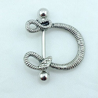 2PCS Trendy U Shape Snake Design Nipple/Navel Ring Stainless Steel Straight Bar Fashion Piercing Body Jewelry