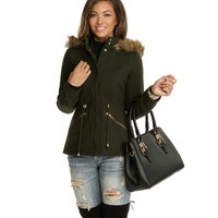 Olive Winter Fur Jacket
