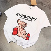BURBERRY Hot Sale Women Men Leisure Embroidery Print Cotton T-Shirt Top Blouse