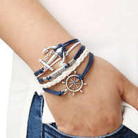 Braided Leather Bracelet With Anchor And Rudder | MakeMeChic.COM