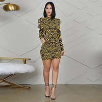 Women Sexy Animal Print Long Puff Sleeve Fashion Mini Dress