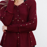 Lovely In Studs Knit - Burgundy