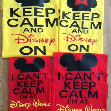 Free/Fast Shipping for US Disney Keep Calm Family of 4  Shirts