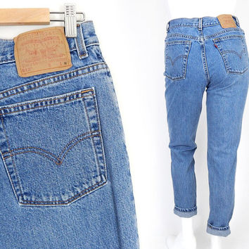 Vintage 80s 90s High Waisted Levi's 512 Slim Fit Mom Jeans - Size 12 - Women's Stone Washed Slim Fit Blue Denim Tapered Mom Jeans - 31 Waist