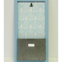 Aqua Damask Photo & Pocket File Board