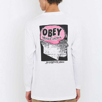 Obey - T-shirt Mind Control à manches longues blanc - Urban Outfitters