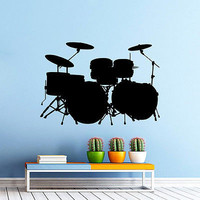 Wall Decals Music Drum Kit Drums Rock Band Art Design Bedroom Home Decor DA3915