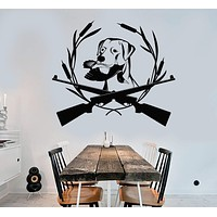 Vinyl Wall Decal Hunting Gun Dog Labrador Club Store Duck Wildfowl Stickers Unique Gift (1236ig)