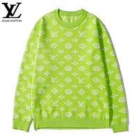 LV Louis Vuitton New fashion monogram print couple long sleeve top sweater Green